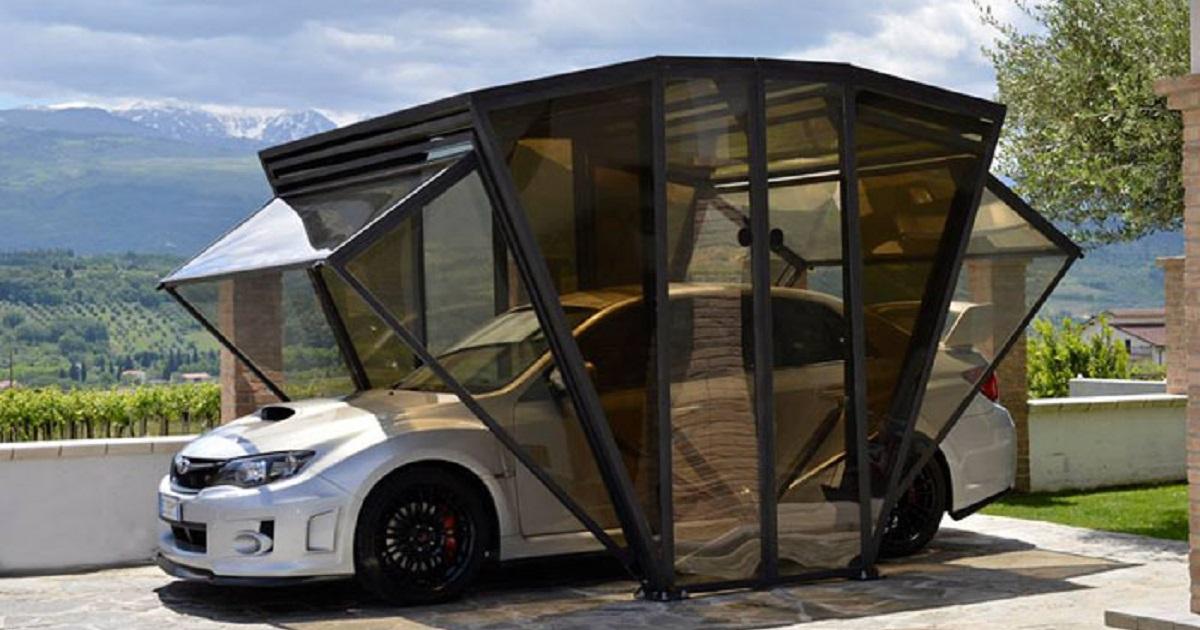 Компактный гараж-ракушка, который лёгким движением руки превращается в навес