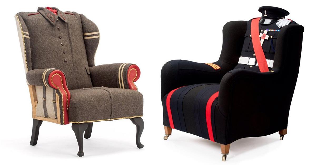 Шинели, пальто и пиджаки в качестве обивки мебели: гениальные идеи от британской студии