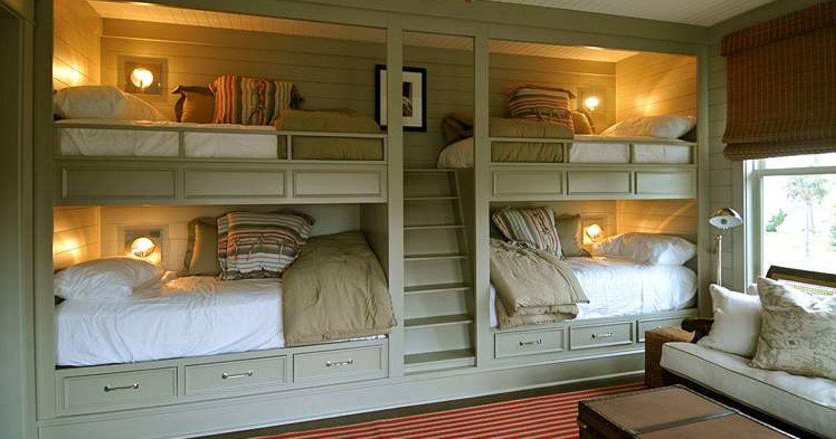 Замечательные кровати и спальни для больших семей и крохотных пространств