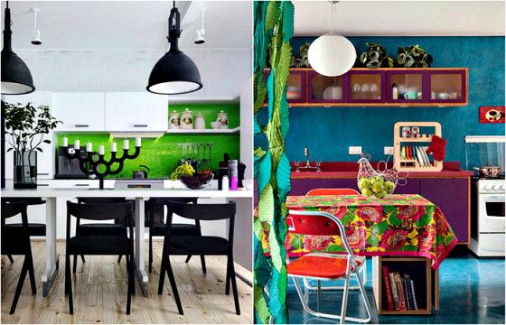 19 вдохновляющих примеров использования ярких цветов в оформлении кухни