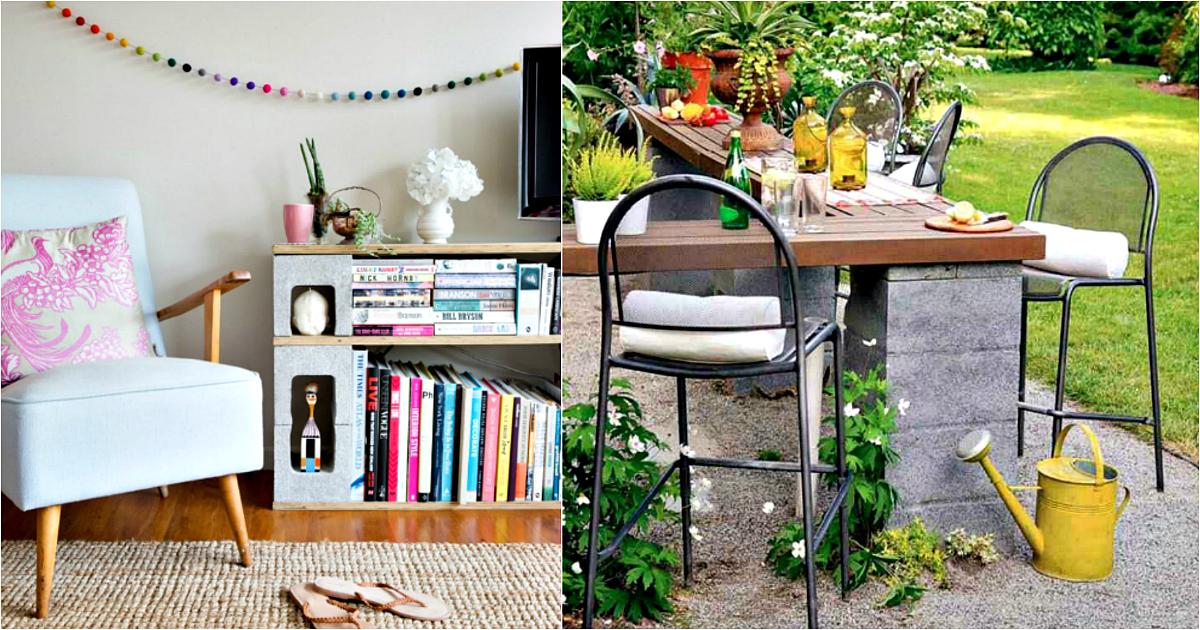 17 замечательных примеров использования бетонных блоков в саду и в доме