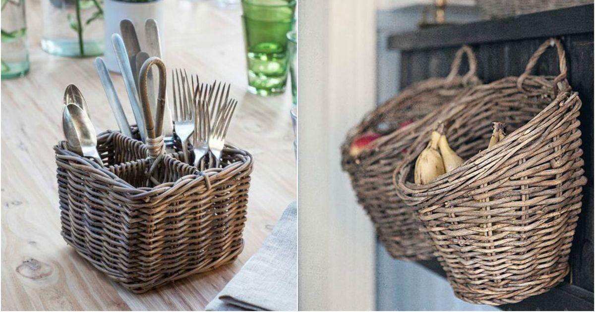 Как украсить плетеную корзинку