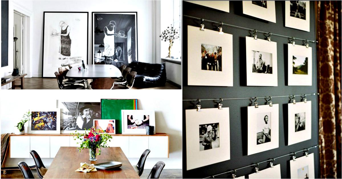 Домашняя галерея: 17 вдохновляющих примеров, размещения картин, фотографий и плакатов в интерьере