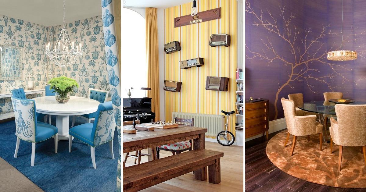 27 впечатляющих примеров, как оригинальные обои превращают столовую в интерьерный шедевр