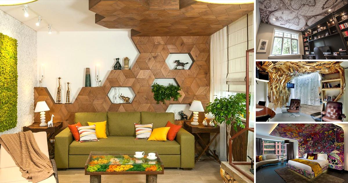 12 впечатляющих идей для оформления потолка, которые сделают его украшением интерьера