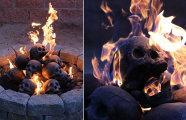 Идеальная готика в интерьере: жуткий камин с горящими черепами