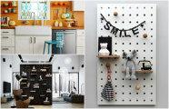 Стильный интерьер: 20 практичных идей использования перфорированных панелей в жилой комнате и на кухне