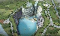 Роскошь посреди развалин: В Китае завершается строительство помпезного отеля в заброшенном карьере
